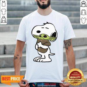 Official Snoopy Hug Baby Yoda Shirt