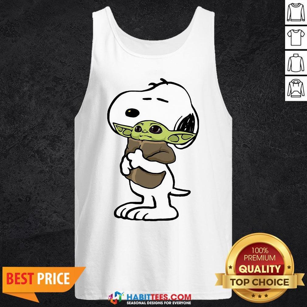 Official Snoopy Hug Baby Yoda Tank Top