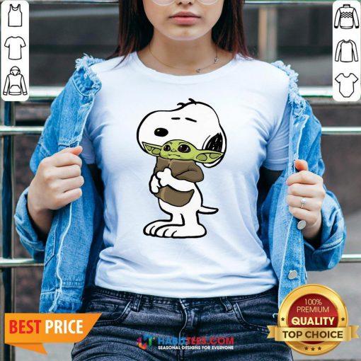 Official Snoopy Hug Baby Yoda V-neck