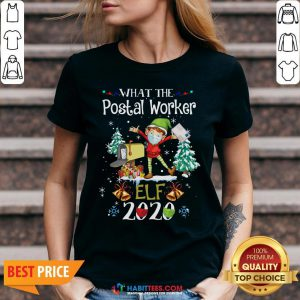 Official What The Postal Worker Elf Christmas V-neck - Design By Habittees.com