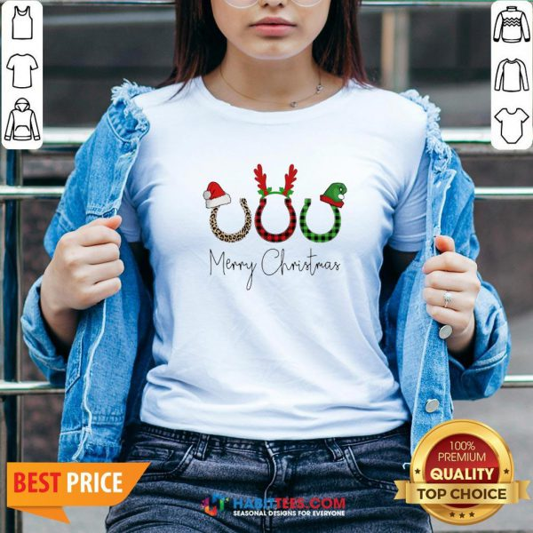 Perfect Santa Reindeer Horse Merry Christmas Sweater V-neck - Design By Habittees.com