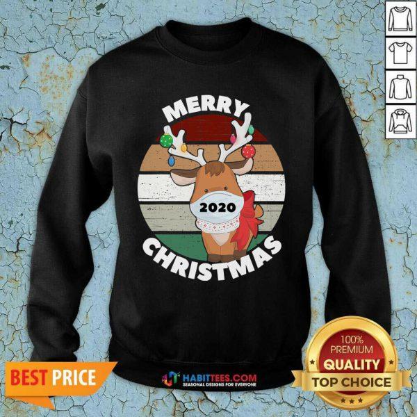 Premium Merry Christmas 2020 Reindeer Wear Mask Vintage Sweatshirt
