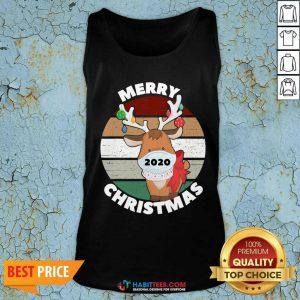 Premium Merry Christmas 2020 Reindeer Wear Mask Vintage Tank Top