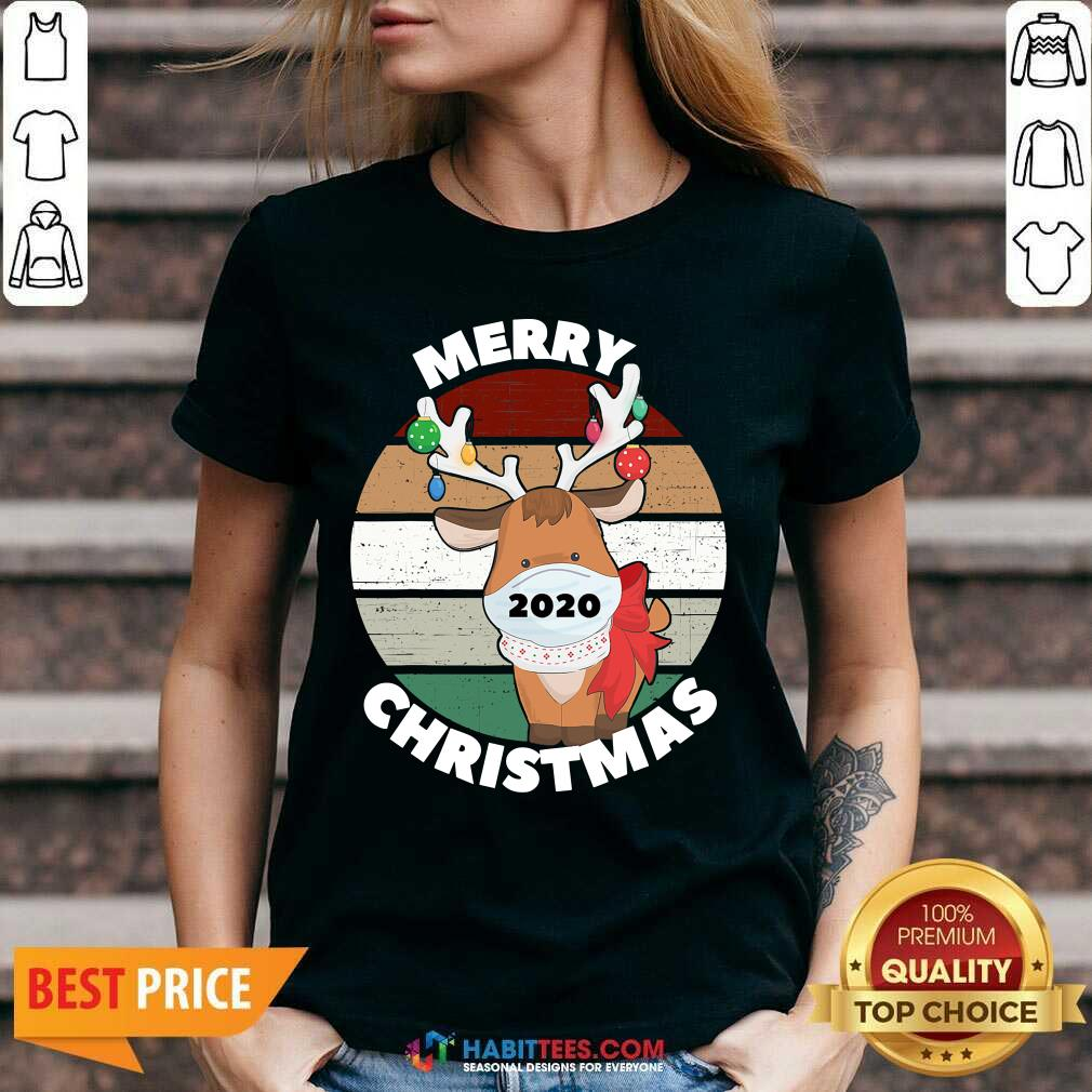 Premium Merry Christmas 2020 Reindeer Wear Mask Vintage V-neck