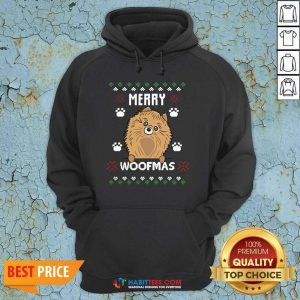Premium Merry Christmas Woofmas Pomeranian Dog Gift Ugly Christmas Hoodie