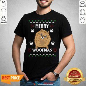 Premium Merry Christmas Woofmas Pomeranian Dog Gift Ugly Christmas Shirt