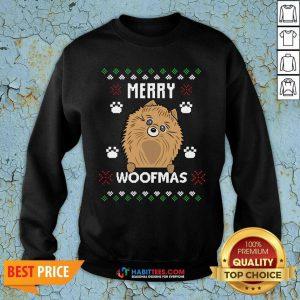 Premium Merry Christmas Woofmas Pomeranian Dog Gift Ugly Christmas Sweatshirt