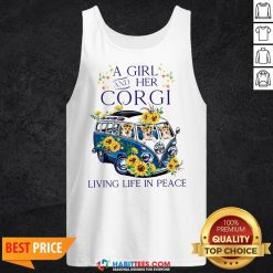 Pro A Girl And Her Corgi Living Life In Peace Tank Top - Design By Habittees.com