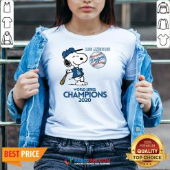 Pro Snoopy Play Baseball Los Angeles Dodgers World Series Champions 2020 V-neck - Design By Habittees.com