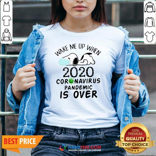 So Snoopy Face Mask Wake Me Up When 2020 Coronavirus Pandemic Is Over V-neck - Design By Habittees.com