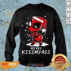 Super Deadpool Merry Kiss My ass Christmas Sweatshirt - Design By Habittees.com