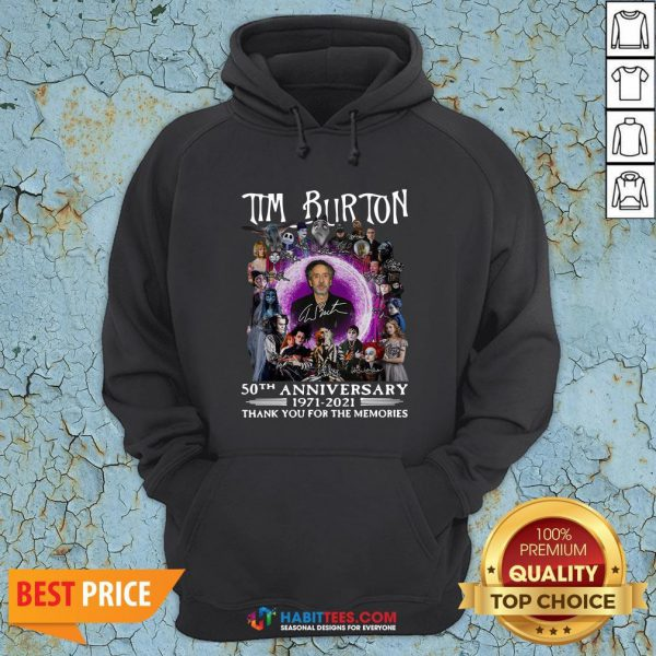 Super Tim Burton 50th Anniversary 1971 2021 Thank You For The Memories Signatures Hoodie - Design By Habittees.com