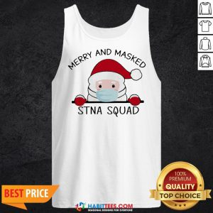 Sweet Santa Face Mask Merry And Masked Santa Squad Christmas Tank Top - Design By Habittees.com