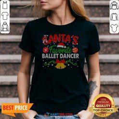 Sweet Santa's Favorite Ballet Dancer Christmas V-neck - Design By Habittees.com