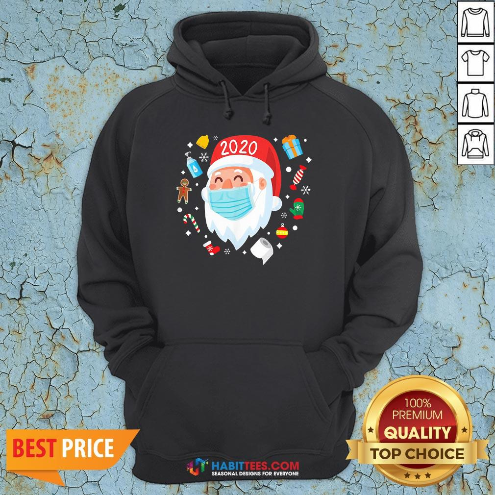 Top Santa Face Mask Funny Christmas Pajama For Hoodie