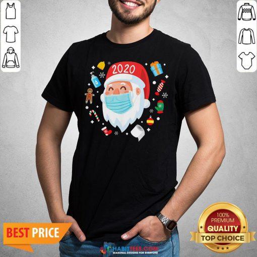 Top Santa Face Mask Funny Christmas Pajama For Shirt
