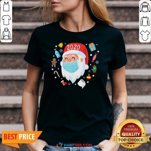 Top Santa Face Mask Funny Christmas Pajama For V-neck
