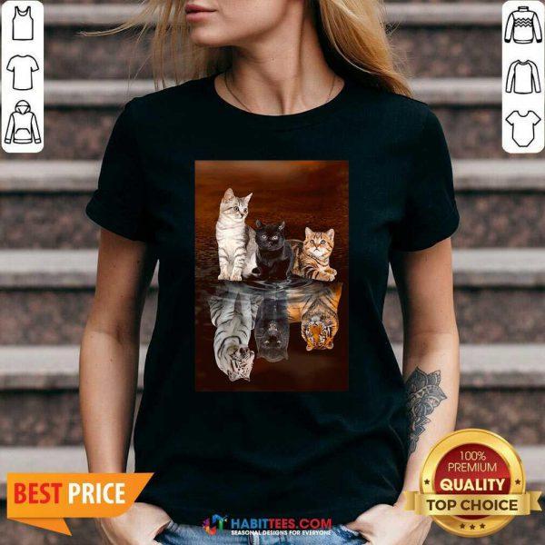 Top Three Cat Tiger Reflections 5d Diamond Diy V-neck