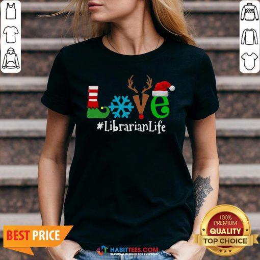 Vip Love Snow Elf Reindeer Librarian life Christmas V-neck - Design By Habittees.com