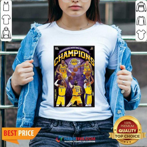 2020 National Basketball Association Champions Los Angeles Lakers V-neck - Design by Habittees.com