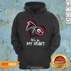 Atlanta Falcons And Georgia Bulldogs Football Heart Valentines Day Hoodie - Design by Habittees.com