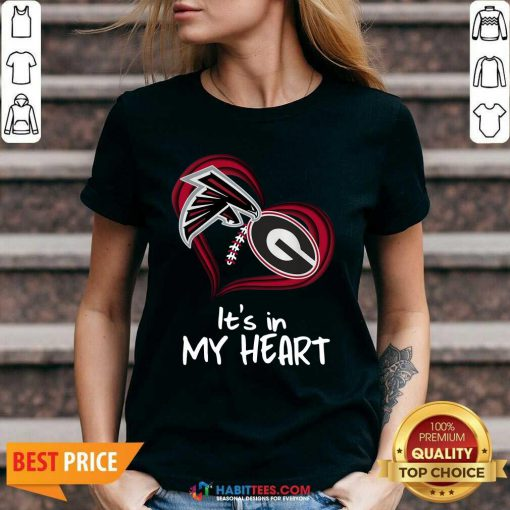 Atlanta Falcons And Georgia Bulldogs Football Heart Valentines Day V-neck - Design by Habittees.com