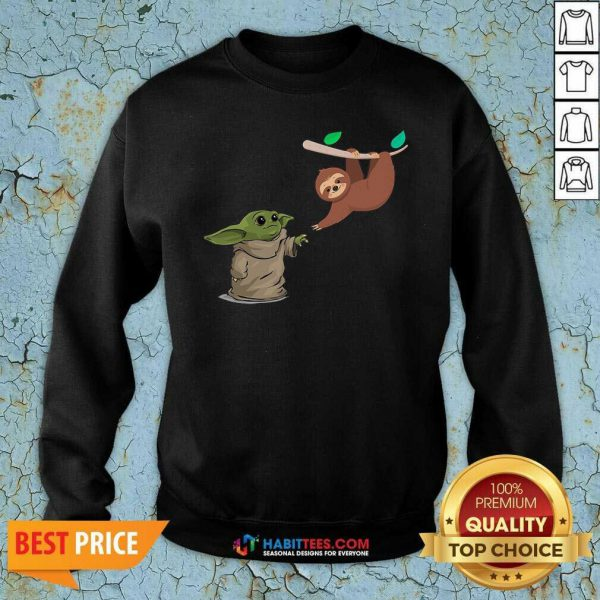 Awesome Baby Yoda And Sloth Sweatshirt - Design by Habittees.com