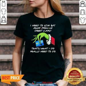 Awesome Grinch Hand Holding I Need To Stay 6ft Away From V-neck - Design by Habittees.com