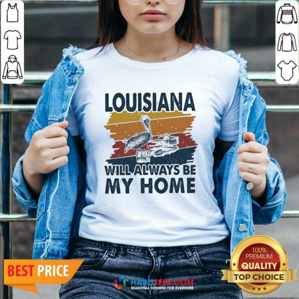 Awesome Louisiana Will Always Be My Home Vintage Retro V-neck - Design by Habittees.com