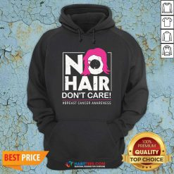 Awesome No Hair Do Not Care Breast Cancer Awareness Woman Hoodie - Design by Habittees.com