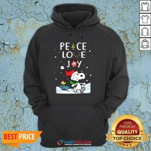 Awesome Peace Love Joy Snoopy Merry Christmas Hoodie - Design by Habittees.com
