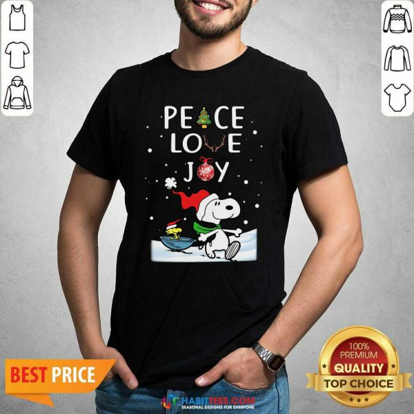 Awesome Peace Love Joy Snoopy Merry Christmas Shirt - Design by Habittees.com