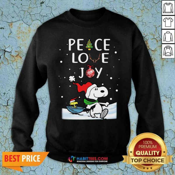 Awesome Peace Love Joy Snoopy Merry Christmas Sweatshirt - Design by Habittees.com