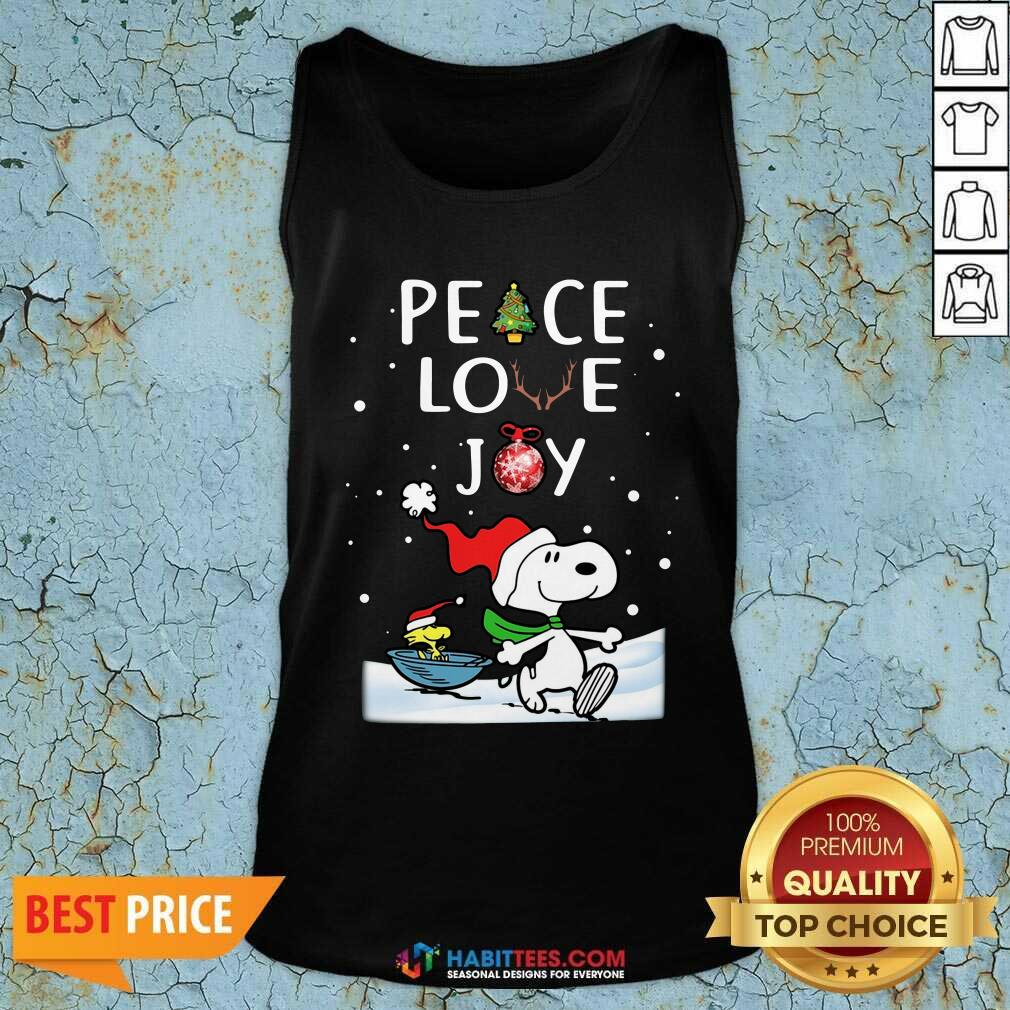 Awesome Peace Love Joy Snoopy Merry Christmas Tank Top - Design by Habittees.com
