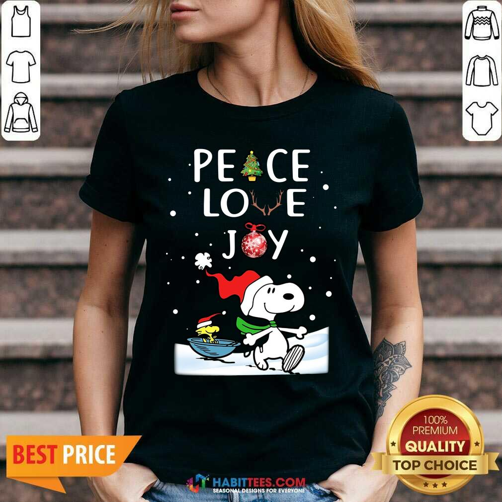 Awesome Peace Love Joy Snoopy Merry Christmas V-neck - Design by Habittees.com