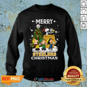 Awesome The Peanuts Snoopy And Friend Merry Steelers Ugly Christmas Sweatshirt- Design by Habittees.com