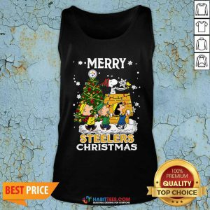 Awesome The Peanuts Snoopy And Friend Merry Steelers Ugly Christmas Tank Top- Design by Habittees.com