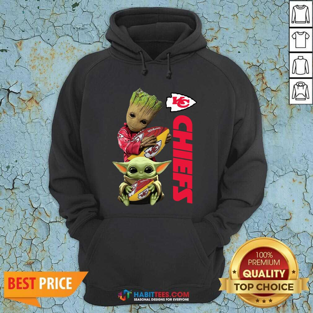 Baby Yoda And Baby Groot Hug Rugby Kansas City Chiefs Hoodie - Design by Habittees.com