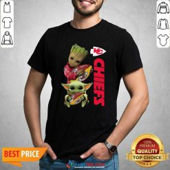 Baby Yoda And Baby Groot Hug Rugby Kansas City Chiefs Shirt - Design by Habittees.com