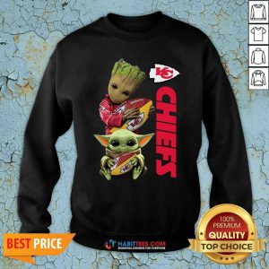 Baby Yoda And Baby Groot Hug Rugby Kansas City Chiefs Sweatshirt - Design by Habittees.com