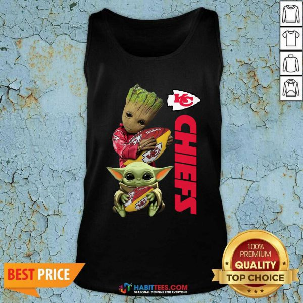 Baby Yoda And Baby Groot Hug Rugby Kansas City Chiefs Tank Top - Design by Habittees.com