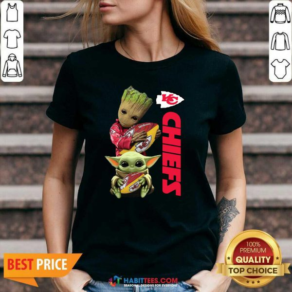 Baby Yoda And Baby Groot Hug Rugby Kansas City Chiefs V-neck - Design by Habittees.com