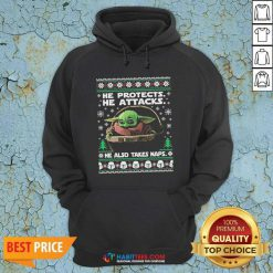 Baby Yoda He Protects He Attacks He Also Takes Naps Ugly Christmas Hoodie - Design by Habittees.com