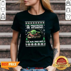 Baby Yoda He Protects He Attacks He Also Takes Naps Ugly Christmas V-neck - Design by Habittees.com