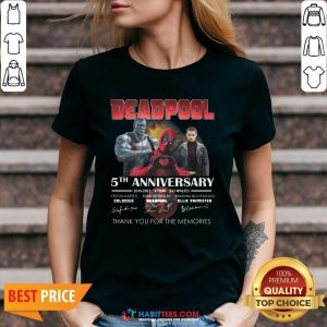 Deadpool 5th Anniversary 2016 2021 2 Film 243 Minutes Thank Memories Signatures V-neck - Design by Habittees.com