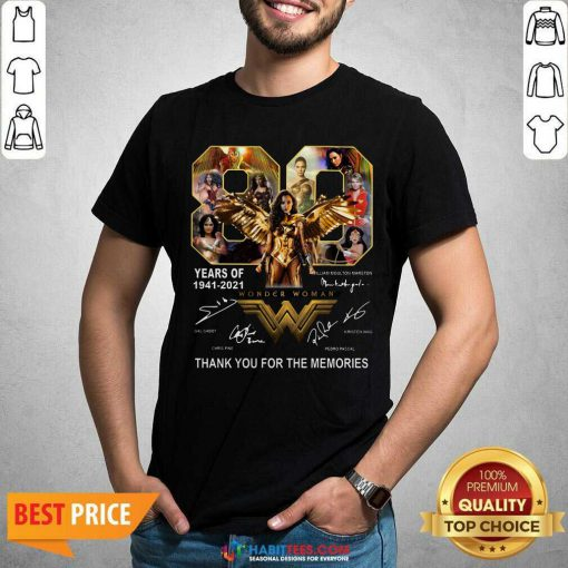Funny 80 Years Of Wonder Woman 1941 2021 Thank Memories Signatures Shirt - Design by Habittees.com