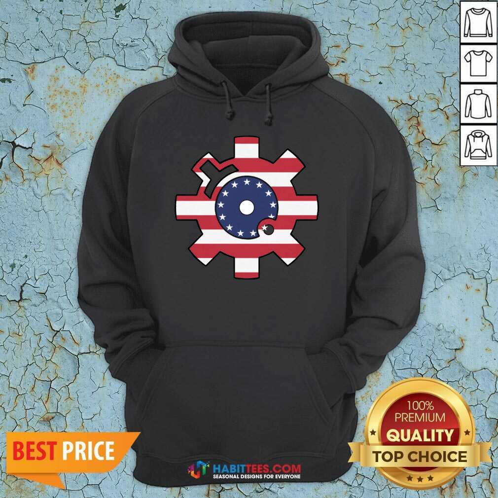 Funny Betsy Ross Flag Bolt Face American Flag Hoodie - Design by Habittees.com