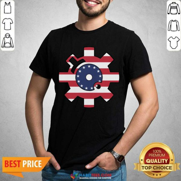 Funny Betsy Ross Flag Bolt Face American Flag Shirt - Design by Habittees.com