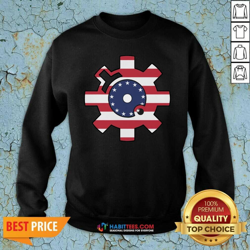 Funny Betsy Ross Flag Bolt Face American Flag Sweatshirt - Design by Habittees.com