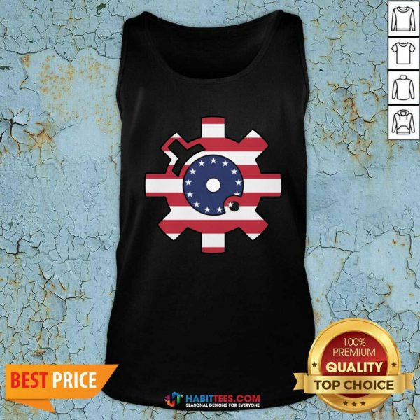 Funny Betsy Ross Flag Bolt Face American Flag Tank Top - Design by Habittees.com